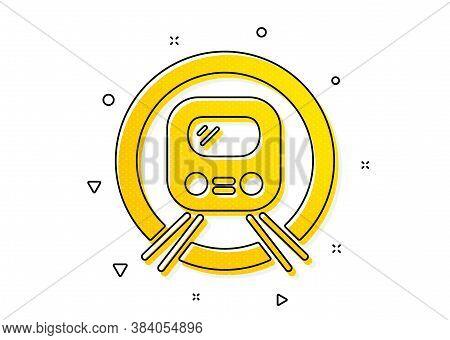 Public Underground Transportation Sign. Metro Subway Transport Icon. Yellow Circles Pattern. Classic