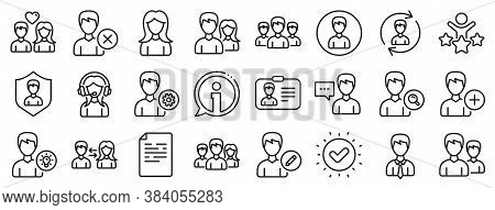 Male And Female Profile, Group And Support Icons. User People Line Icons. Id Card, Teamwork People A
