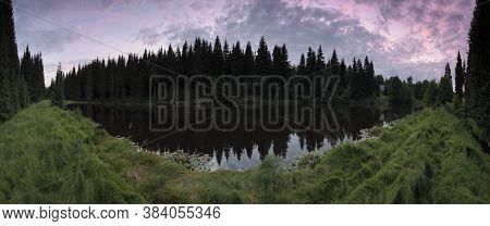 Pond In Ore Mountains Near Village Of Reitzenhain On 27th July 2020