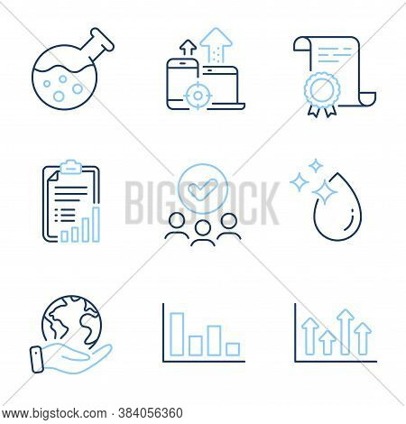Checklist, Histogram And Upper Arrows Line Icons Set. Diploma Certificate, Save Planet, Group Of Peo