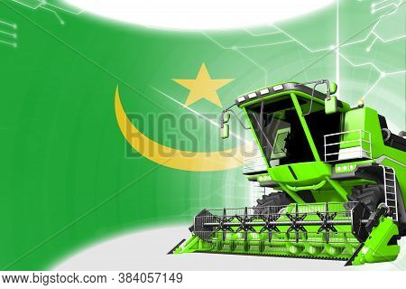 Digital Industrial 3d Illustration Of Green Advanced Wheat Combine Harvester On Mauritania Flag - Ag