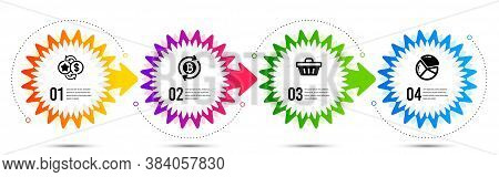 Refresh Bitcoin, Shopping Basket And Pie Chart Icons Simple Set. Timeline Steps Infographic. Loyalty