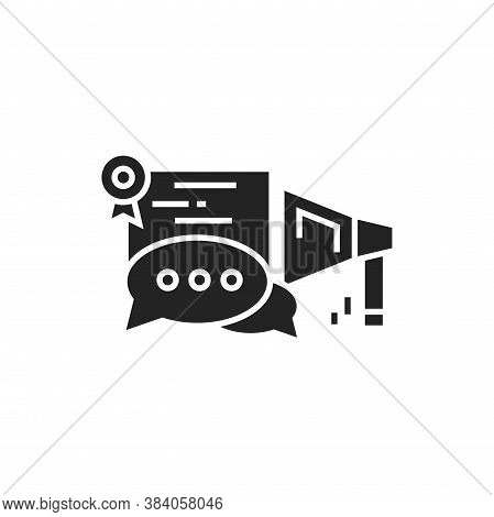 Oratory Courses Black Glyph Icon. Education Public Speaking. Pictogram For Web Page, Mobile App. Ui