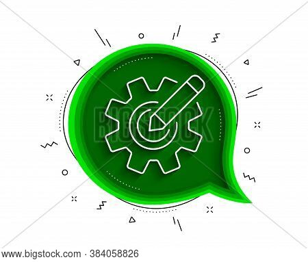 Cogwheel Line Icon. Chat Bubble With Shadow. Engineering Tool Sign. Edit Settings Symbol. Thin Line