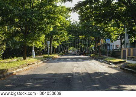 Chomutov, Czech Republic - August 19, 2020: Alley In Zborovska Street