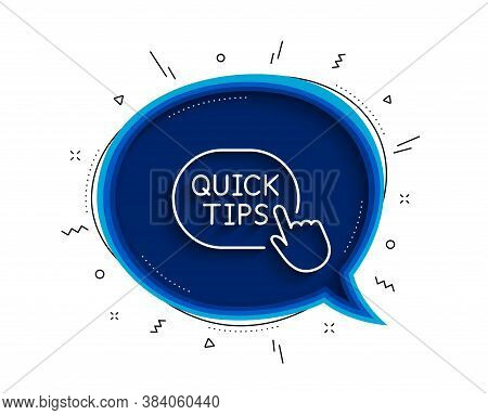 Quick Tips Click Line Icon. Chat Bubble With Shadow. Helpful Tricks Sign. Thin Line Quick Tips Icon.