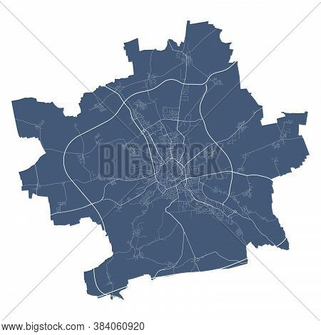 Erfurt Map. Detailed Vector Map Of Erfurt City Administrative Area. Cityscape Poster Metropolitan Ar