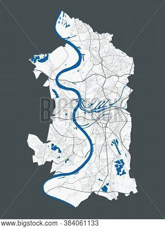 Duisburg Map. Detailed Map Of Duisburg City Administrative Area. Cityscape Panorama. Royalty Free Ve