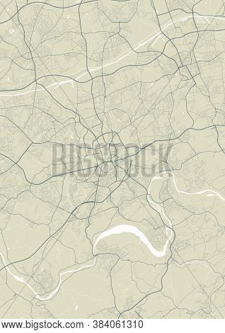 Detailed Map Of Essen City Administrative Area. Royalty Free Vector Illustration. Cityscape Panorama