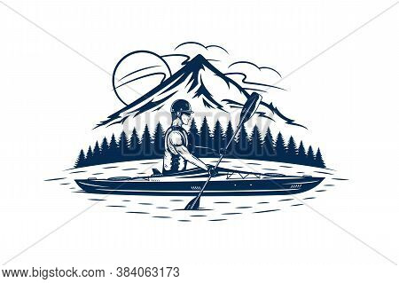 Man Kayaking On Mountain Lake Vector Illustration