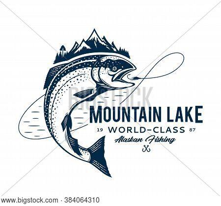 Vector Mountain Lake Fishing Logo
