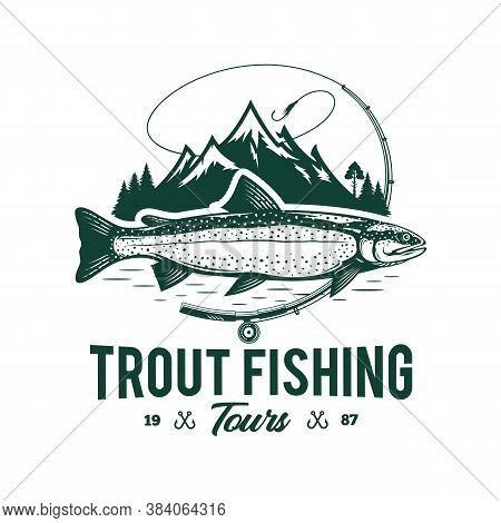 Vector Mountain Lake Trout Fishing Logo