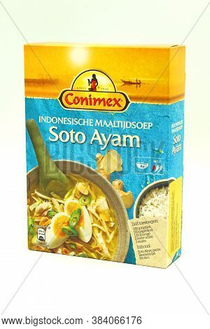 Zaandam, The Netherlands - September 6, 2020: Package Of Conimex Soto Ayam Against A White Backgroun
