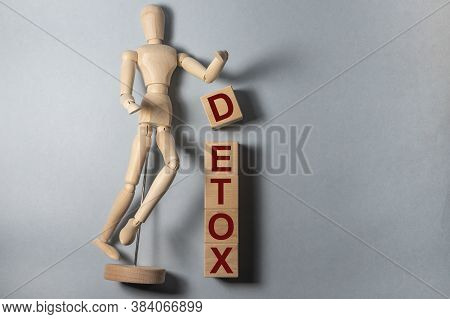 Detox Word Made With Building Blocks, Detoxication Concept