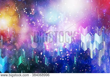 Abstract Festive Background. Glitter Vintage Lights Background With Lights Defocused. Christmas And