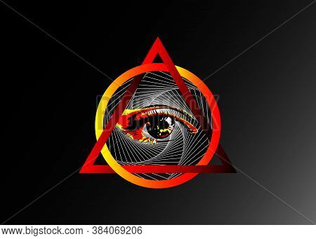 Sacred Masonic Symbol. All Seeing Eye, The Third Eye, The Eye Of Providence, Inside Triangle Pyramid