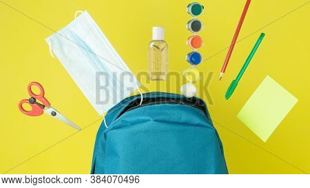 Blue Backpack With Flying Face Mask, Hand Sanitizer, Stationery, Study Supplies, Pencil, Pen, Paints