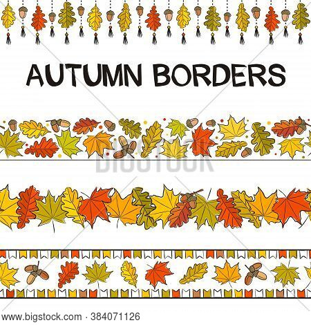 Set For Autumn Decoration. Seamless Patterns For Frames And Borders. Hand Drawn Autumn Leaves In Doo