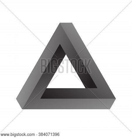 Penrose Triangle, Impossible Geometric Element, 3d Vector Illustration