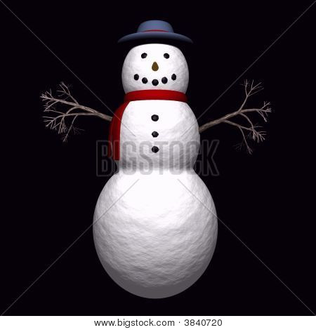 Snow Man With Twig Arms