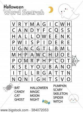 Halloween Word Search Crossword Puzzle For Children. Educational Activity Worksheet. Practice Englis