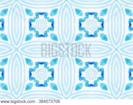 Persian Tile. White Navajo. Blur Patterned Tiles. Winter Snow Landscape. Turquoise Ethnic Geometry.