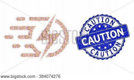 Caution Grunge Round Stamp And Vector Recursion Mosaic Electric Voltage. Blue Stamp Seal Contains Ca