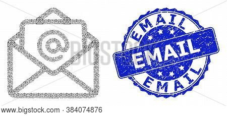 Email Rubber Round Stamp Seal And Vector Recursion Mosaic Open Email. Blue Stamp Seal Includes Email