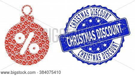 Christmas Discount Corroded Round Stamp And Vector Recursion Mosaic Christmas Discount Ball. Blue St
