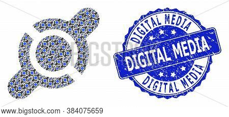 Digital Media Scratched Round Stamp Seal And Vector Recursive Mosaic Joint Connection. Blue Stamp Se