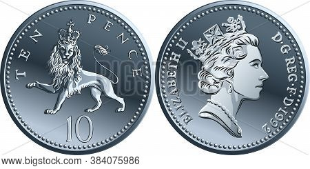 British Money Silver Coin Ten Pee Or Ten Pence, Reverse With Heraldic Crowned Lion, Queen On Obverse