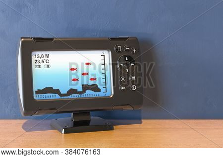 Fish Finder On The Wooden Table. 3d Rendering