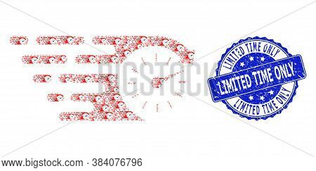 Limited Time Only Rubber Round Stamp Seal And Vector Fractal Collage Time. Blue Stamp Includes Limit