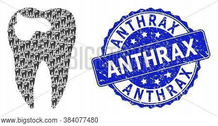 Anthrax Rubber Round Watermark And Vector Recursive Collage Tooth Caries. Blue Seal Includes Anthrax