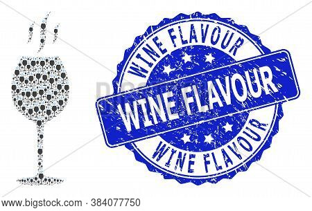 Wine Flavour Dirty Round Stamp And Vector Recursive Mosaic Wine Flavour. Blue Stamp Includes Wine Fl