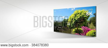 8k Resolution Display With Comparison Of Resolutions. Tv Screen Panel Conceptual Graphic. Web Banner