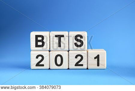 Bts 2021 Years On Wooden Cubes On A Blue Background