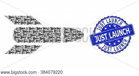 Just Launch Textured Round Seal And Vector Recursion Composition Rocket. Blue Seal Contains Just Lau