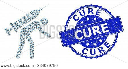 Cure Grunge Round Seal Imitation And Vector Fractal Collage Vaccine Courier. Blue Stamp Seal Contain