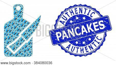 Authentic Pancakes Dirty Round Watermark And Vector Fractal Collage Cutting Board And Knife. Blue Se