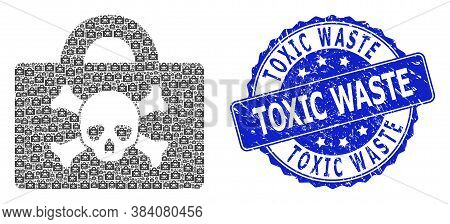 Toxic Waste Rubber Round Seal Imitation And Vector Recursive Mosaic Mortal Case. Blue Stamp Seal Con