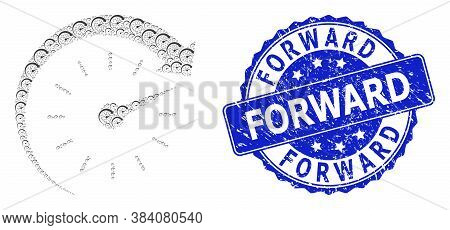 Forward Textured Round Seal Print And Vector Fractal Collage Time Forward. Blue Seal Has Forward Tag