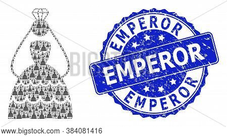Emperor Rubber Round Stamp Seal And Vector Fractal Collage Crowned Bride. Blue Stamp Seal Has Empero