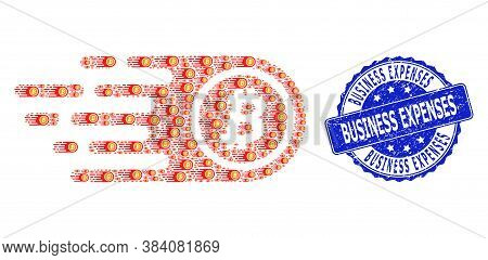 Business Expenses Corroded Round Stamp Seal And Vector Recursion Mosaic Bitcoin. Blue Stamp Seal Con