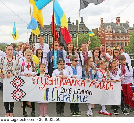 London, Great Britain -may 22, 2016: Procession Of Ukrainians In National Costumes On The Westminste