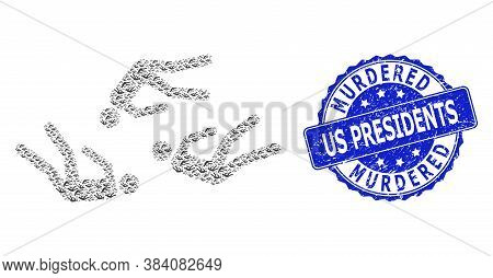 Murdered Us Presidents Grunge Round Seal Imitation And Vector Recursion Mosaic Dead People. Blue Sta
