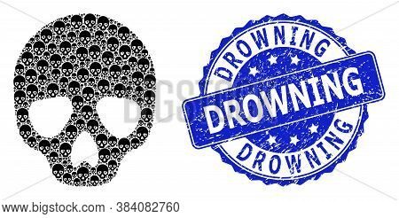 Drowning Rubber Round Stamp Seal And Vector Recursive Composition Skull. Blue Stamp Seal Has Drownin
