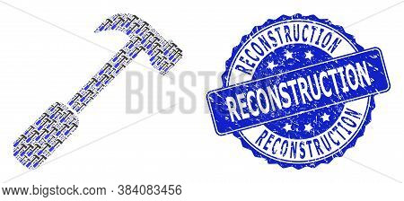 Reconstruction Scratched Round Seal Imitation And Vector Recursive Mosaic Hammer. Blue Stamp Has Rec