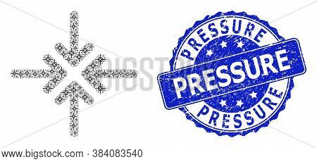 Pressure Corroded Round Stamp Seal And Vector Recursive Collage Collapse Arrows. Blue Seal Has Press