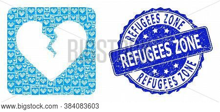 Refugees Zone Corroded Round Stamp And Vector Recursion Collage Divorce Heart. Blue Stamp Has Refuge